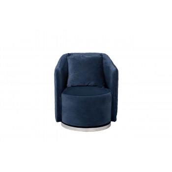 Кресло вращающееся мягкое, велюр темно-синий  73*72*82см 48MY-2573 DBL