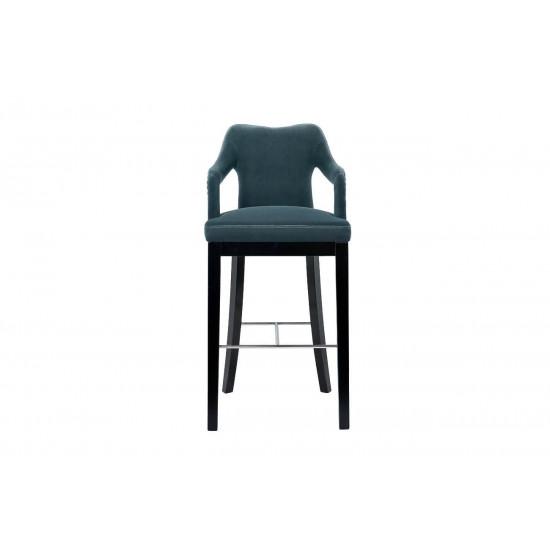 Барный стул велюр сине-зеленый 52*54*102см 48MY-4126-B BLU в интернет-магазине ROSESTAR фото