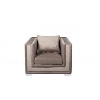 Велюровое кресло серое мягкое 113*103*72см 48MY-1245-1 GRE
