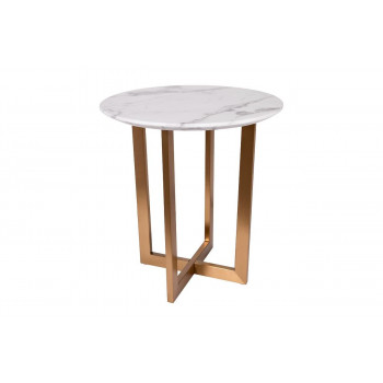 Журнальный столик круглый на металлических ножках Pearl White d55*57,2см 33FS-ET2029-BBS
