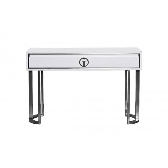 Консоль белая с ящиками D'Oro белая/хром 120*30*78см GD-CST003 в интернет-магазине ROSESTAR фото