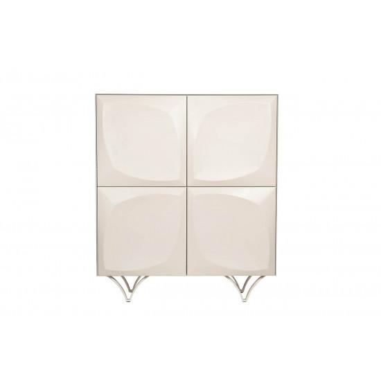 Высокий комод белый с дверцами Quadro 120*42*140см 58DB-CHH15873 в интернет-магазине ROSESTAR фото