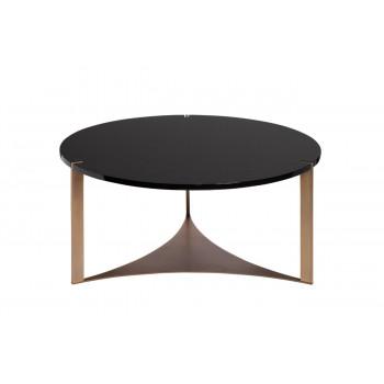 Круглый чёрный журнальный стол из дерева на металлическом каркасе d85*40см 58DB-CT15882