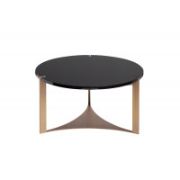 Чёрный круглый журнальный столик из дерева на металлических ножках d65*35см 58DB-ET15882