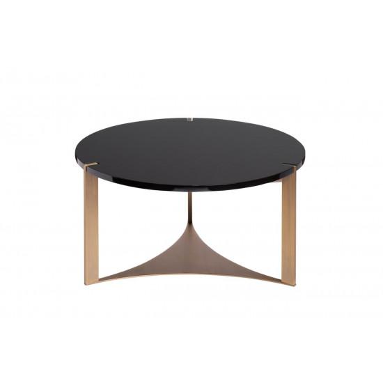 Чёрный круглый журнальный столик из дерева на металлических ножках d65*35см 58DB-ET15882 в интернет-магазине ROSESTAR фото