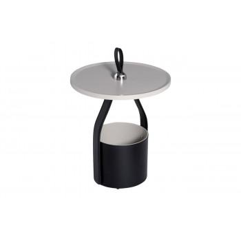 Круглый журнальный столик с корзиной, кожаной отделкой и деревянной столешницей на металлическом основании d45*63см 58DB-ET17040