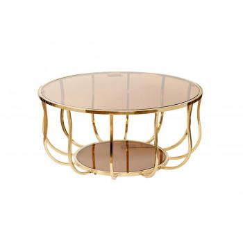 Золотой журнальный столик с коричневым стеклом на металлической основе d100*45см 13RXCT4032-GOLD
