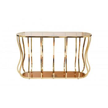 Металлическая консоль с коричневым стеклом/золото 127*45*76см 13RXC4034-GOLD