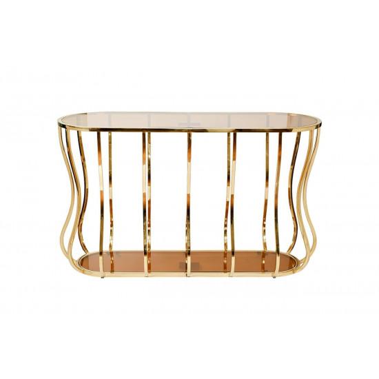 Металлическая консоль с коричневым стеклом/золото 127*45*76см 13RXC4034-GOLD в интернет-магазине ROSESTAR фото