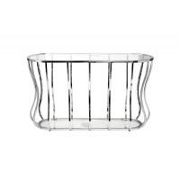Металлическая консоль с прозрачным стеклом/серебро 127*45*76см 13RXC4035-SILVER