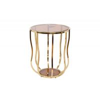 Золотой круглый журнальный столик с прозрачным стеклом на металлической основе d50*60см 13RXET4036-GOLD