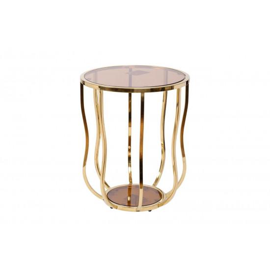 Золотой круглый журнальный столик с прозрачным стеклом на металлической основе d50*60см 13RXET4036-GOLD  в интернет-магазине ROSESTAR фото
