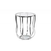 Серебряный круглый журнальный столик с прозрачным стеклом на металлической основе d50*60см 13RXET4037-SILVER