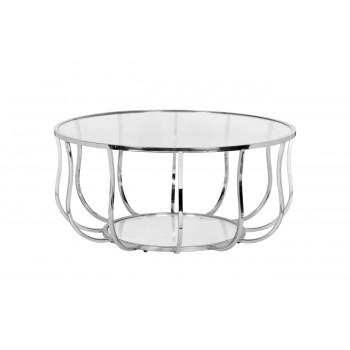 Круглый металлический журнальный столик с прозрачным стеклом на основе цвета Серебро d100*45 13RXCT4033-SILVER