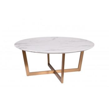 Круглый журнальный столик со столешницей из мрамора на металлических ножках Pearl White d100*40,6см 33FS-CT2029-BBS