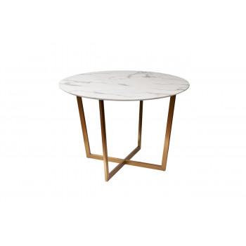 Стол обеденный круглый белый из искусственного мрамора Pearl White d110*76см 33FS-DT3022-BBS