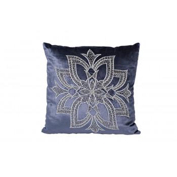 Декоративная подушка с вышивкой и бисером Цветок синяя 45*45 70SW-26096