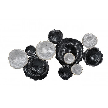 Настенный декор Цветы серебристо-черные 92*51*7см 37SM-0277-R1