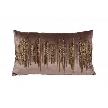 Декоративная бежевая подушка с бисером Линии 30*50см 70SW-28048
