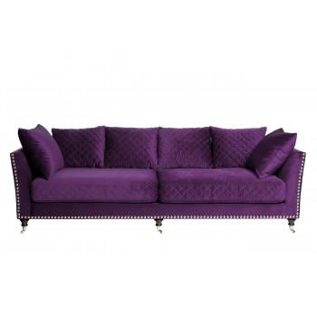 Велюровый трёхместный диван Sorrento Фиолетовый 250*101*90см Ром98