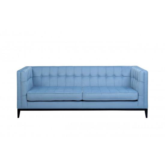 Велюровый трехместный раскладной диван Palermo Голубой 216*83*78см Vel47 в интернет-магазине ROSESTAR фото