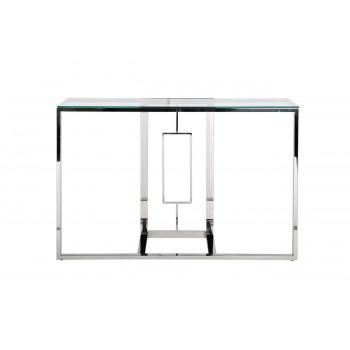 Металлическая консоль с прозрачным стеклом/хром 120*40*78см 47ED-CST067