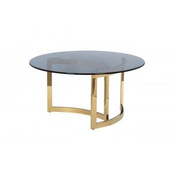 Круглый золотой журнальный столик с тёмным стеклом d90*45см 47ED-CT062GOLD