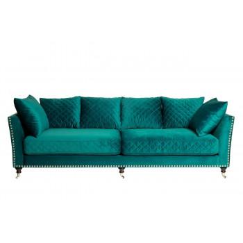 Велюровый трёхместный диван Sorrento Бирюзовый 250*101*90см Bel21