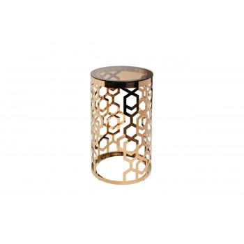 Круглый высокий журнальный столик с коричневым стеклом на основе цвета Розовое золото d38*70см 13RXFS3053-GOLD