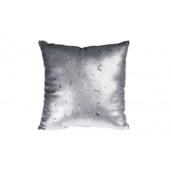 Декоративная квадратная подушка с пайетками серебристая/черная 45*45см ASH507010 в интернет-магазине ROSESTAR фото