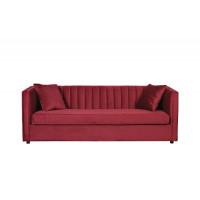 Велюровый трёхместный раскладной диван Paolo + 2 подушки Красный