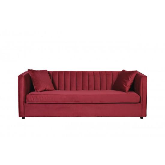 Велюровый трёхместный раскладной диван Paolo + 2 подушки Красный в интернет-магазине ROSESTAR фото