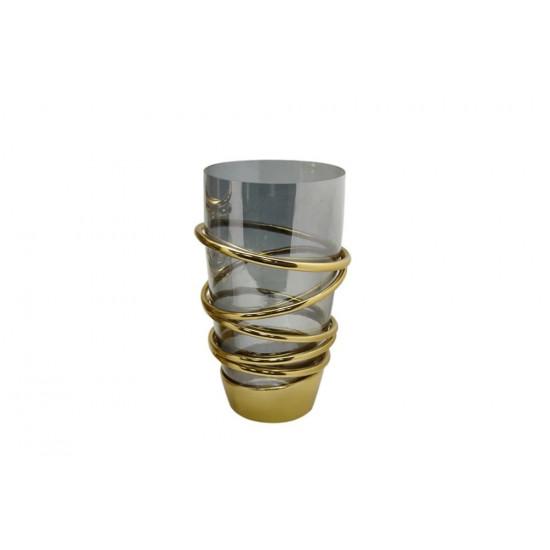 Ваза из стекла и металла Циклон 18*28см 69-117031 в интернет-магазине ROSESTAR фото
