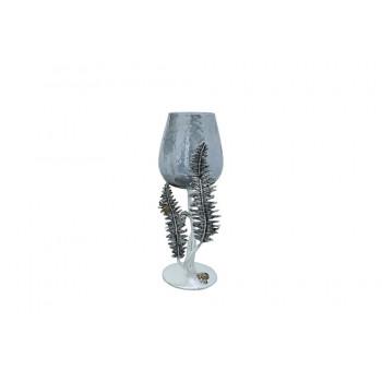 Декоративный подсвечник Папоротники 37см серебро 69-119108AS