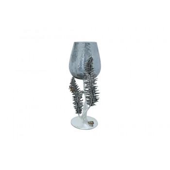 Декоративный стеклянный подсвечник Папоротники 44см серебро 69-119116AS