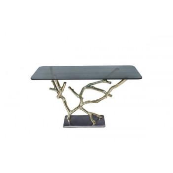 Металлическая консоль со стеклом Ветви золото/темное стекло 12мм, 120*41см 69-1118173