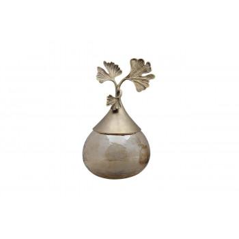 Декоративная ваза из текстурированного стекла с крышкой Гинкго 20*18,5*32см 69-1018055