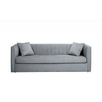 Велюровый трехместный раскладной диван Paolo Серый 232*91*74см, 2 подушки Bel40