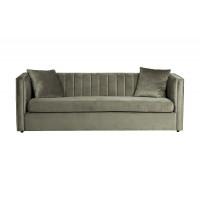 Велюровый трехместный раскладной диван Paolo Оливково-серый 232*91*74см, 2 подушки Bel17