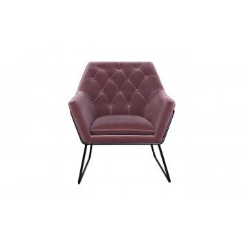 Велюровое кресло на металлическом каркасе пепельно-розовое 76*83*79см 48MY-2636-1PI