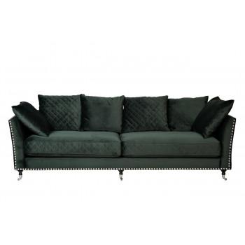 Велюровый трёхместный диван Sorrento Изумрудный 250*101*90см Bel37