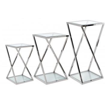Набор из трёх журнальных столов на металлическом каркасе Серебро 40*40*85/70/55см GY-ST001