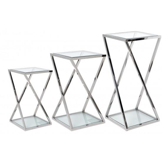 Набор из трёх журнальных столов на металлическом каркасе Серебро 40*40*85/70/55см GY-ST001 в интернет-магазине ROSESTAR фото