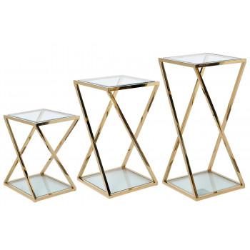 Набор из трёх журнальных столов на металлическом каркасе Золото 40*40*85/70/55см GY-ST001GOLD