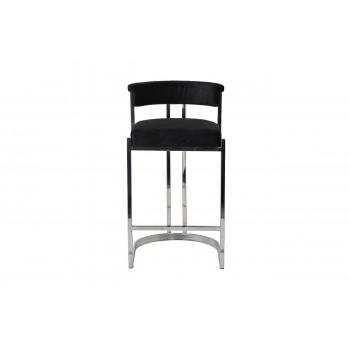 Барный стул велюр черный/хром 49*55*85см GY-B8216-BL