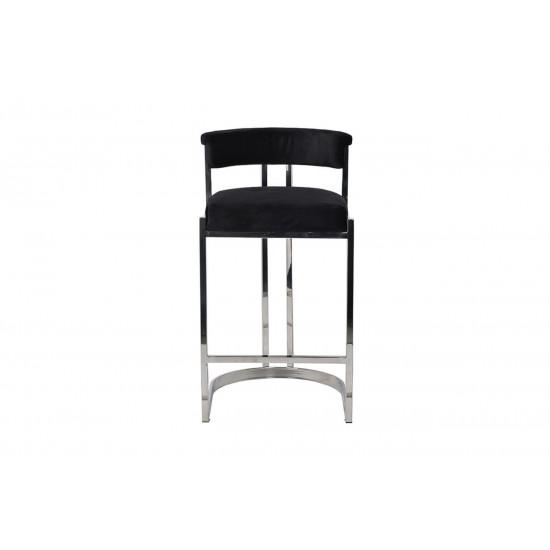 Барный стул велюр черный/хром 49*55*85см GY-B8216-BL  в интернет-магазине ROSESTAR фото