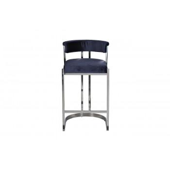 Барный стул велюр темно-синий/хром 49*55*85см GY-B8216-DB