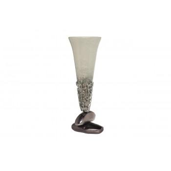 Стеклянная ваза с металлическим основанием d18*51см 71PN-30457