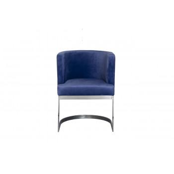 Стул на металлическом каркасе велюр темно-голубой/темный хром 58*59*78см 76AR-612-DB