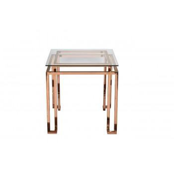 Металлический квадратный журнальный столик с прозрачным стеклом 51*51*55см KFG061